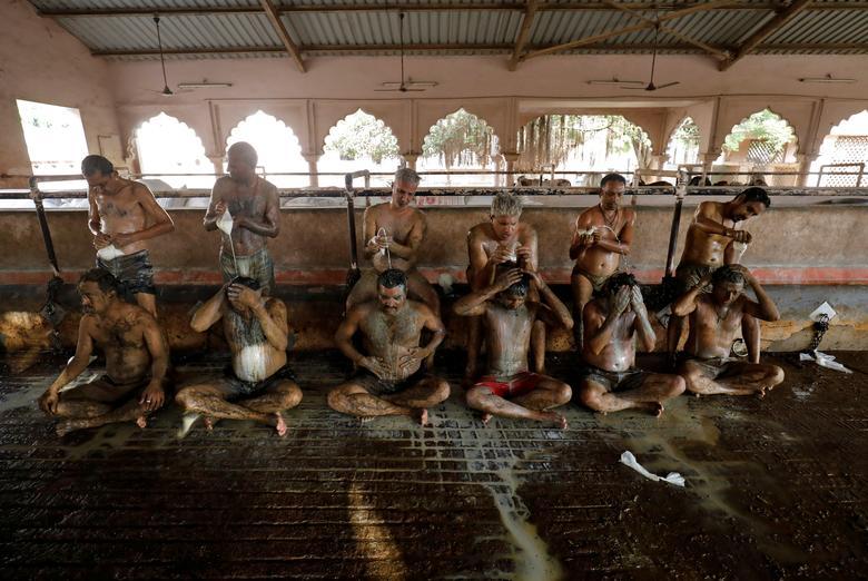 Hình ảnh một số người dân Ấn Độ dùng phân, nước tiểu bò bò để chữa Covid-19 - Ảnh 5.