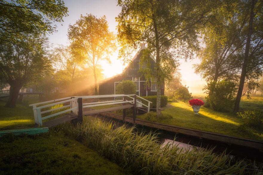 Làng cối xay gió ở Hà Lan chìm trong sương mù huyền ảo như cổ tích - Ảnh 7.