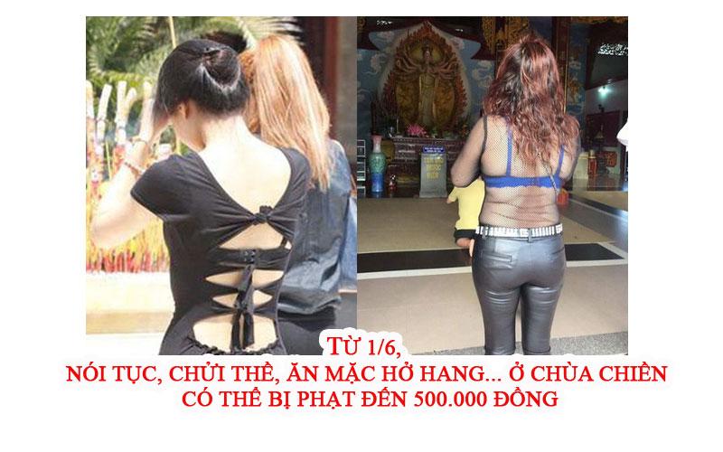 Từ 1/6, nói tục, chửi thề, ăn mặc hở hang... ở chùa chiền có thể bị phạt đến 500.000 đồng - Ảnh 1.