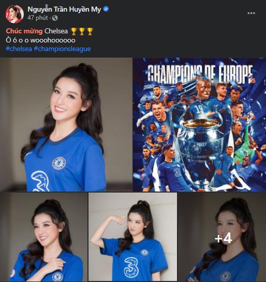 Á hậu Huyền My rạng rỡ chúc mừng Chelsea vô địch cúp C1 - Ảnh 2.