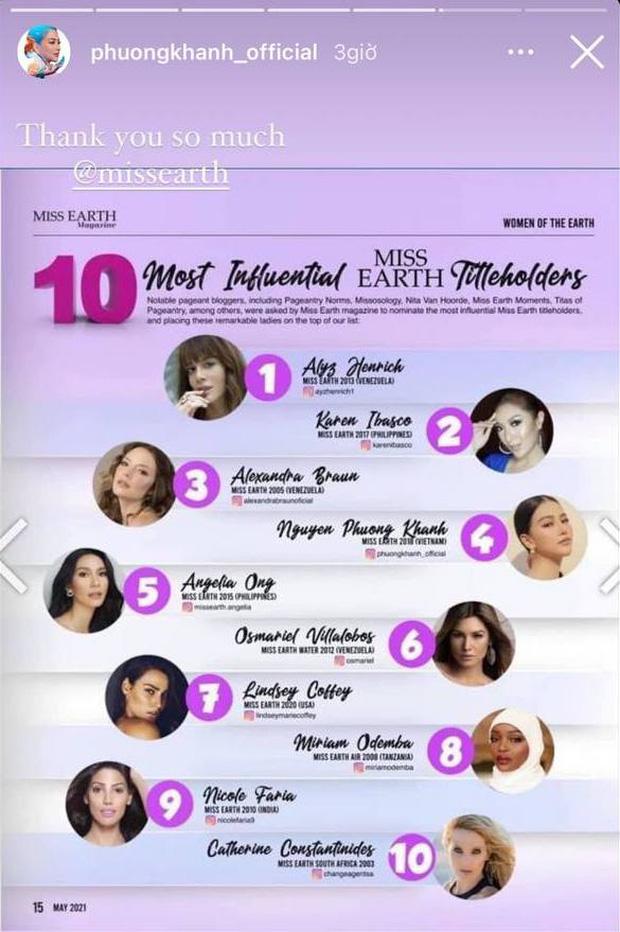 Phương Khánh bất ngờ lọt top 10 Hoa hậu Trái đất có tầm ảnh hưởng nhất lịch sử - Ảnh 1.