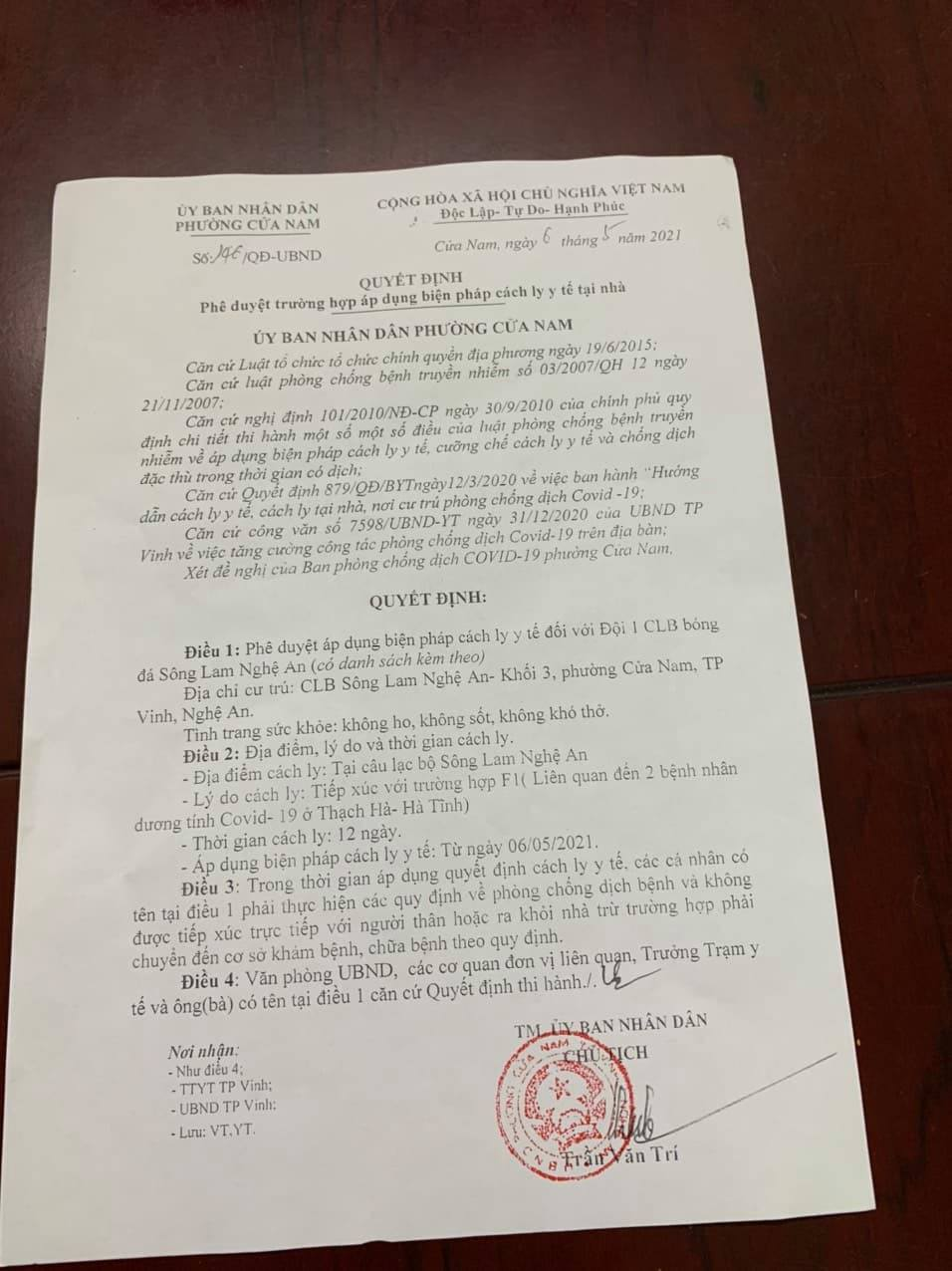Nóng: Toàn bộ đội 1 của CLB bóng đá Sông Lam Nghệ An bị cách ly vì Covid-19 - Ảnh 2.