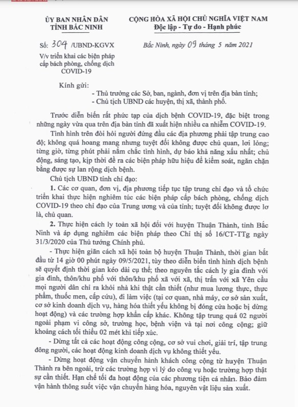 Dịch Covid-19 diễn biến phức tạp, Bắc Ninh giãn cách xã hội toàn bộ huyện Thuận Thành từ 14h ngày 9/5 - Ảnh 1.
