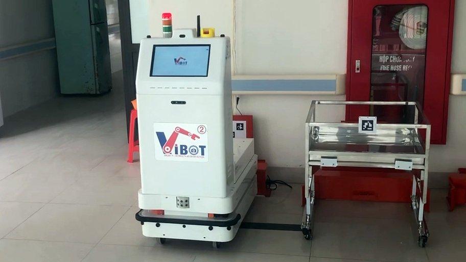 Robot vận chuyển đưa cơm, thuốc cho bệnh nhân Covid-19 tại tâm dịch Bắc Ninh - Ảnh 8.