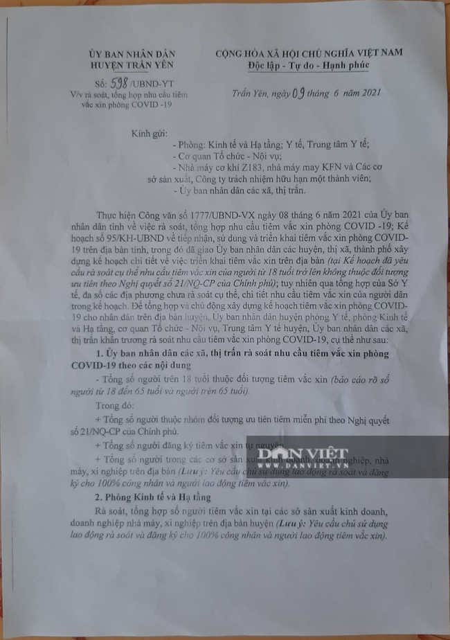 Yên Bái: Chủ tịch huyện nói gì về việc người dân tiêm vaccine phòng Covid-19 phải trả tiền - Ảnh 1.