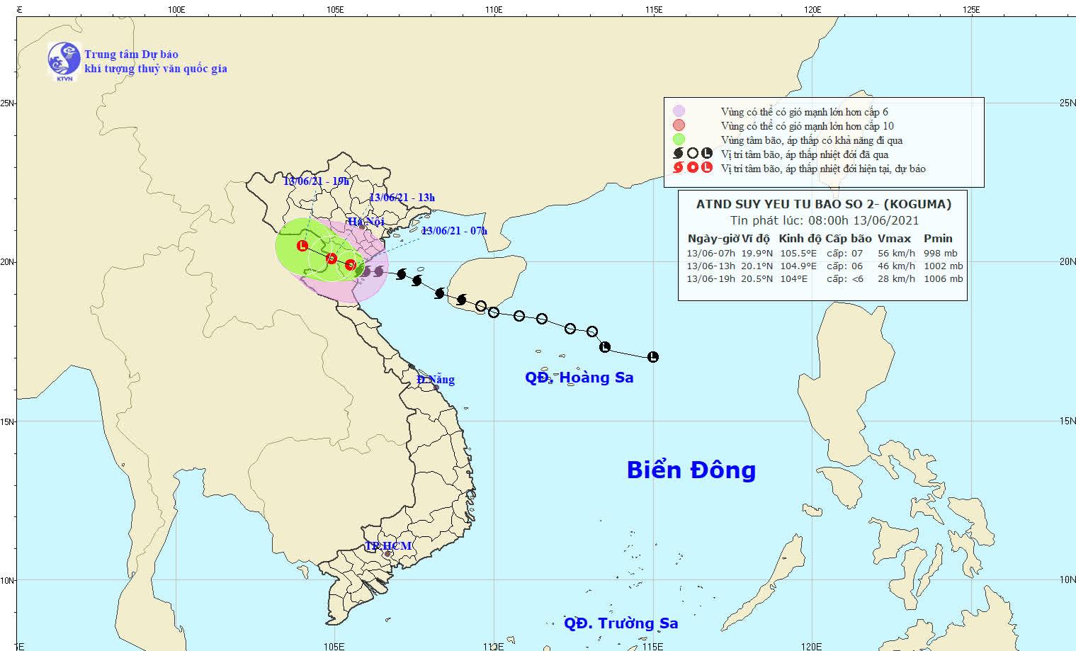 Bão số 2 suy yếu thành áp thấp nhiệt đới, Hà Nội mưa như trút - Ảnh 1.