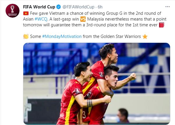 FIFA cổ vũ tinh thần ĐT Việt Nam.