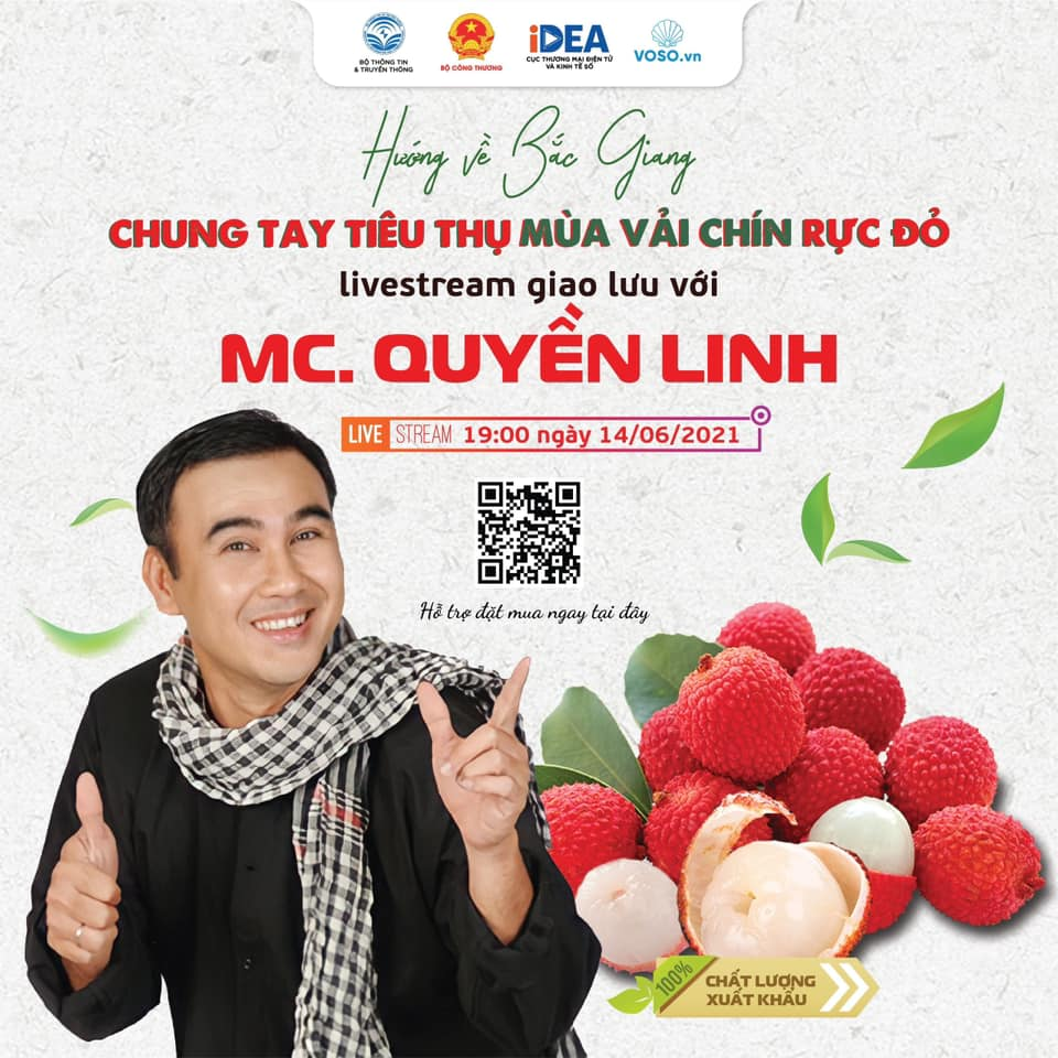"""Quyền Linh lần đầu livestream bán loại quả đỏ rực, được tặng ngay một bó hoa """"có một không hai"""" - Ảnh 2."""