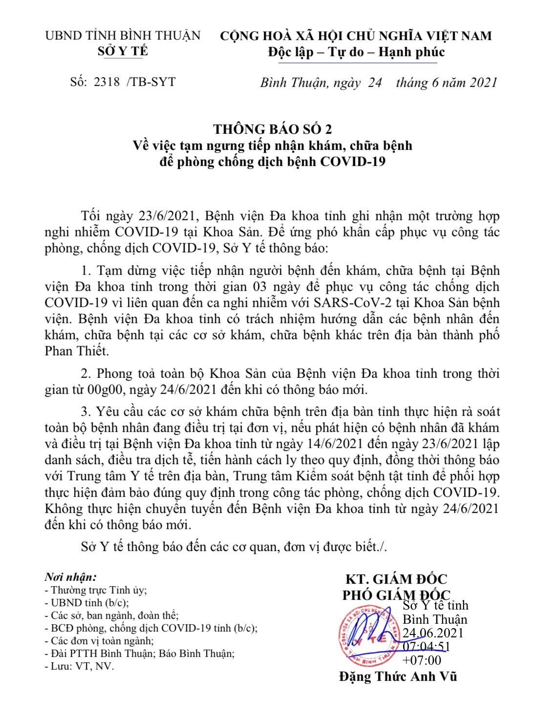 Một bác sỹ khoa sản nghi nhiễm Covid-19, tỉnh Bình Thuận khẩn cấp ngăn chặn - Ảnh 1.