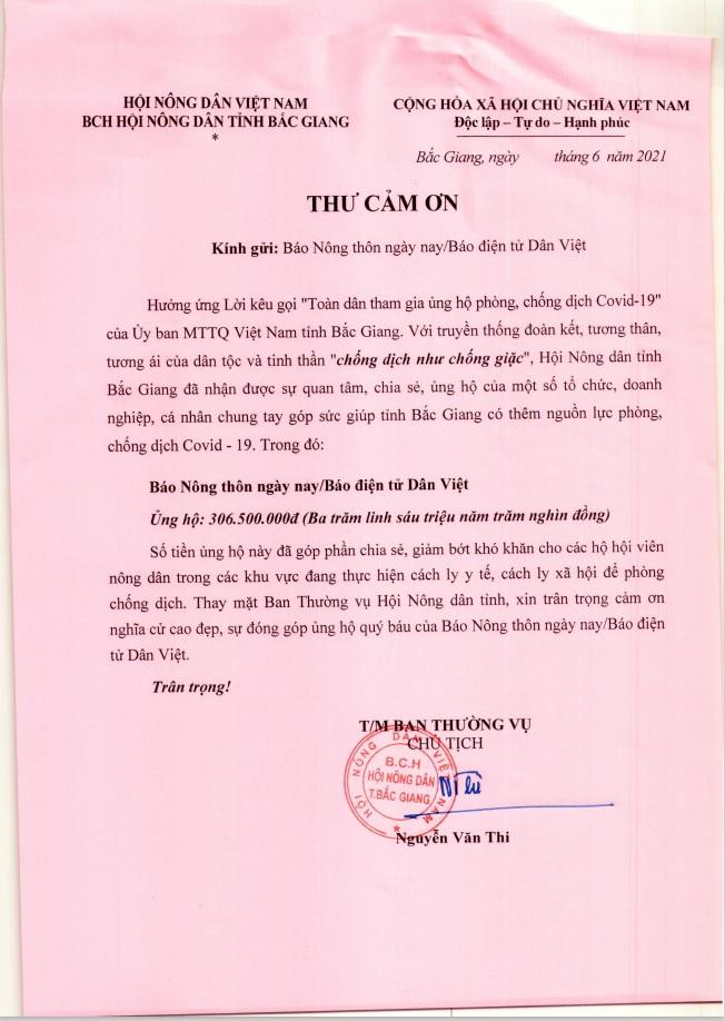 Hội Nông dân tỉnh Bắc Giang gửi lời cảm ơn tới Báo NTNN/ Điện tử Dân Việt hỗ trợ người dân vùng dịch - Ảnh 3.