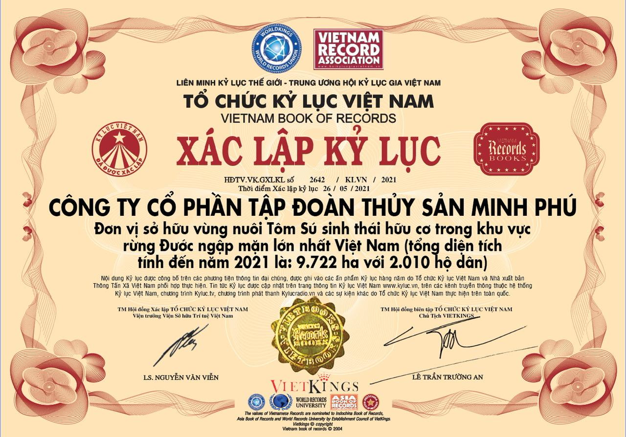 Tập đoàn Thủy sản Minh Phú lập kỷ lục vùng nuôi Tôm sú sinh thái hữu cơ rừng ngập mặn lớn nhất Việt Nam - Ảnh 1.
