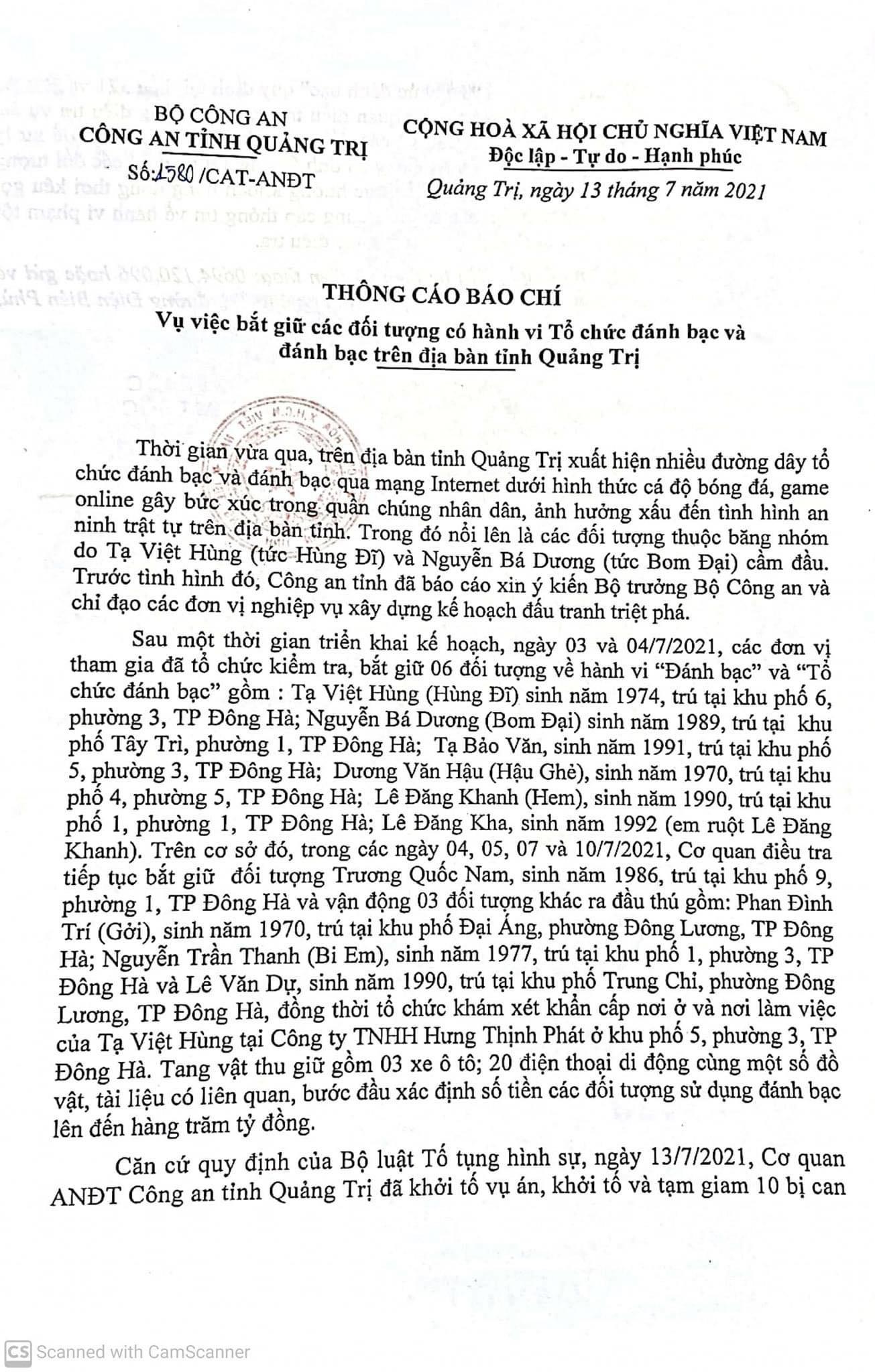 21429208712271303144184945665610990771010204n 1626168406061950320366 Quảng Trị: Bắt trùm giang hồ Tạ Việt Hùng, phá đường dây đánh bạc khủng