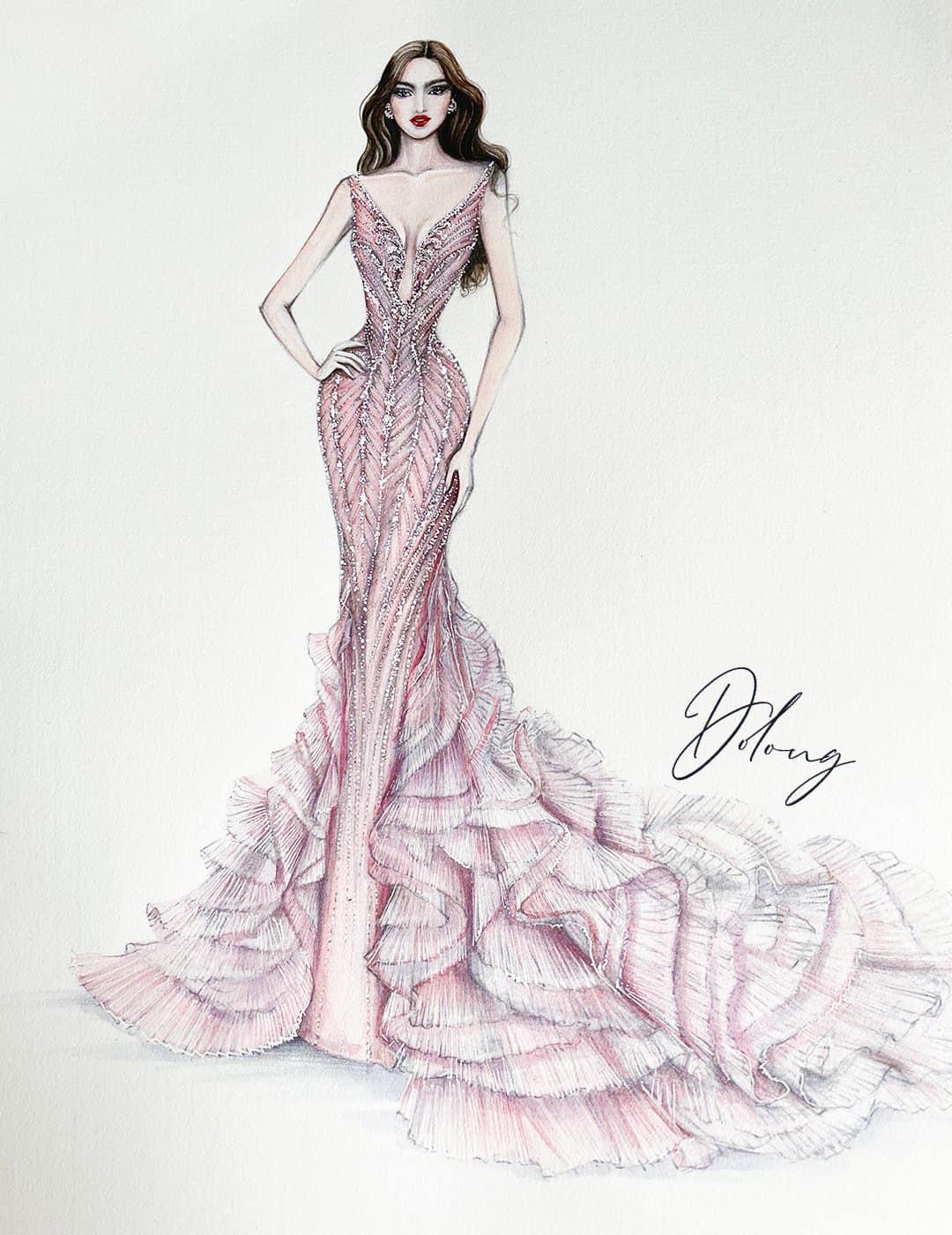 Hé lộ 5 mẫu thiết kế đầm dạ hội của Hoa Hậu Đỗ Thị Hà trong Chung kết Miss World 2021 - Ảnh 3.