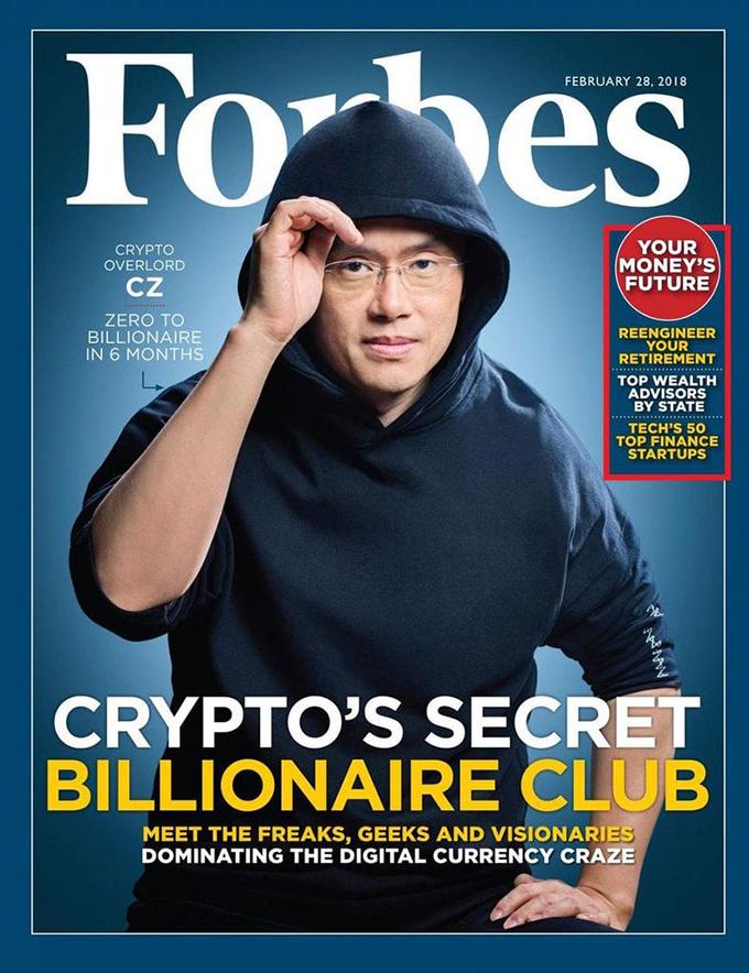 Changpeng Zhao, 41 tuổi, người sáng lập sàn giao dịch tiền ảo lớn nhất thế giới Binance từng được lên trang bìa tạp chí Forbes vì góp mặt trong câu lạc bộ tỉ phú tiền ảo bí mật. Ảnh: @Bitcoin.