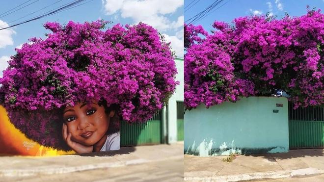 Bức tranh cô bé với mái tóc là giàn hoa giấy khổng lồ gây sốt mạng xã hội - Ảnh 2.