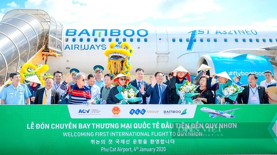 """Thông điệp đặc biệt """"Quy Nhơn city"""" trên chuyến bay thẳng đầu tiên của Bamboo Airways đến Hoa Kỳ - Ảnh 2."""