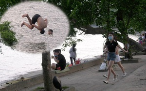 """Dịch covid -19: """"Ngó lơ"""" quy định, người dân Hà Nội thản nhiên ra hồ bơi lội, tập thể dục"""