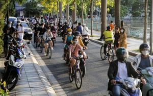 Công an lập chốt chặn, hồ Tây vẫn đông nghịt người tập trung đạp xe, tập thể dục