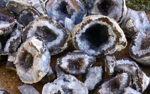 """Thấy đống """"trứng đá"""" trên bãi biển liền lôi ra đập vỡ, hai cha con bỗng ngây người khi nhìn thấy thứ bên trong"""