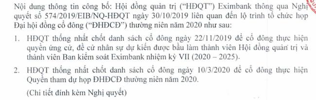 """Lợi nhuận đi lùi, Eximbank của ông Cao Xuân Ninh """"bất ngờ"""" triệu tập ĐHĐCĐ năm 2020 - Ảnh 1."""