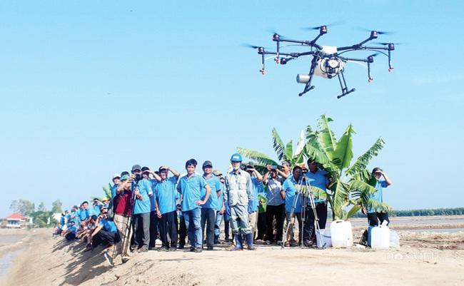 Nông dân bảo vệ lúa bằng thiết bị bay - Ảnh 2.