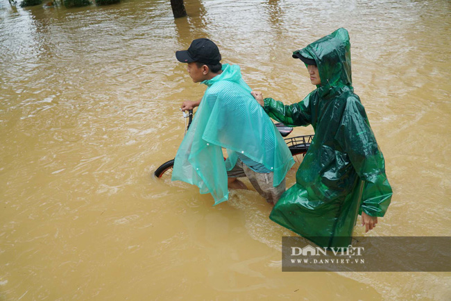 Người Huế tiếp tục lội bì bõm, bơi thuyền trong phố vì mưa ngập nặng nề - Ảnh 9.