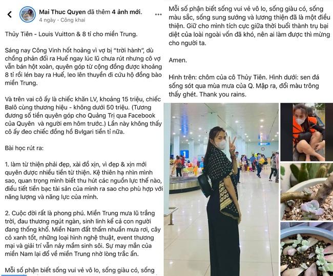 Thủy Tiên bị một nữ MC bóc mẽ, mỉa mai chuyện đeo túi, choàng khăn hiệu đi cứu trợ người dân vùng lũ - Ảnh 2.