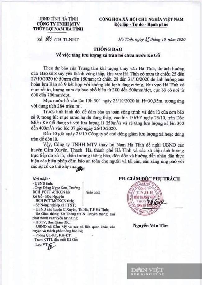 Hà Tĩnh: Hồ Kẻ Gỗ đang xả 250m3/s, sẽ tăng lưu lượng lên 300 - 400m3/s vào 7 giờ sáng mai - Ảnh 1.