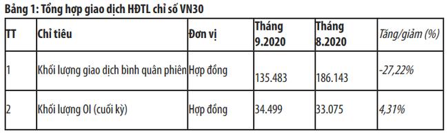 Thị trường chứng khoán phái sinh tháng 9/2020: Khối lượng giao dịch giảm sâu - Ảnh 1.