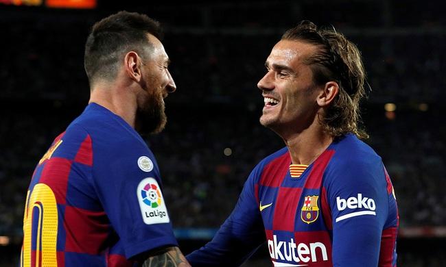 Griezmann và Messi trong 1 lần ăn mừng bàn thắng.