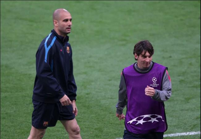 Guardiola và Messi khi còn ở Barca.