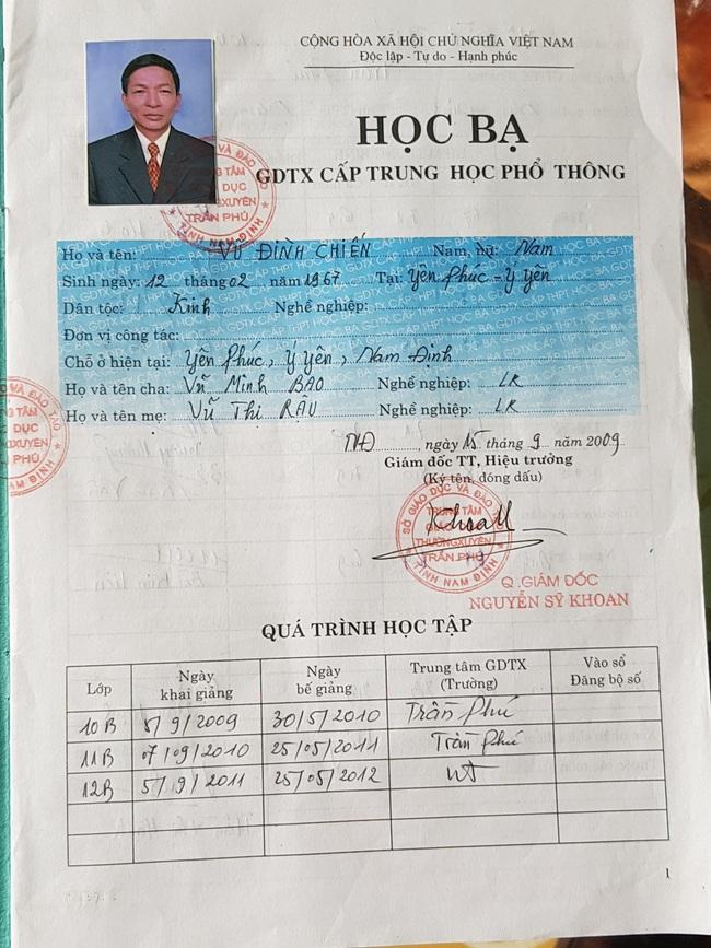 Nam Định: Chủ tịch mặt trận tổ quốc xã Yên Phúc làm giả tinh vi học bạ để thăng tiến - Ảnh 1.