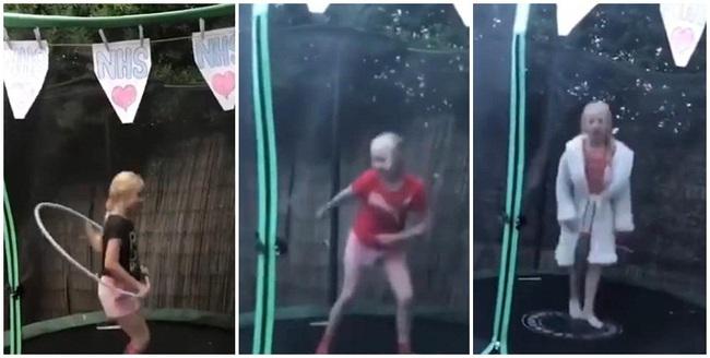 Bé gái 9 quyên góp 500 bảng Anh cho NHS nhờ việc nhảy trên bạt lò xo trong 24 giờ - Ảnh 1.