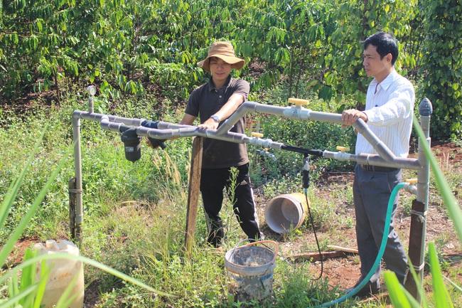 """Nông dân Đắk Lắk chống hạn cho cây trồng bằng mô hình tiết kiệm nước """"3 trong 1"""" - Ảnh 1."""