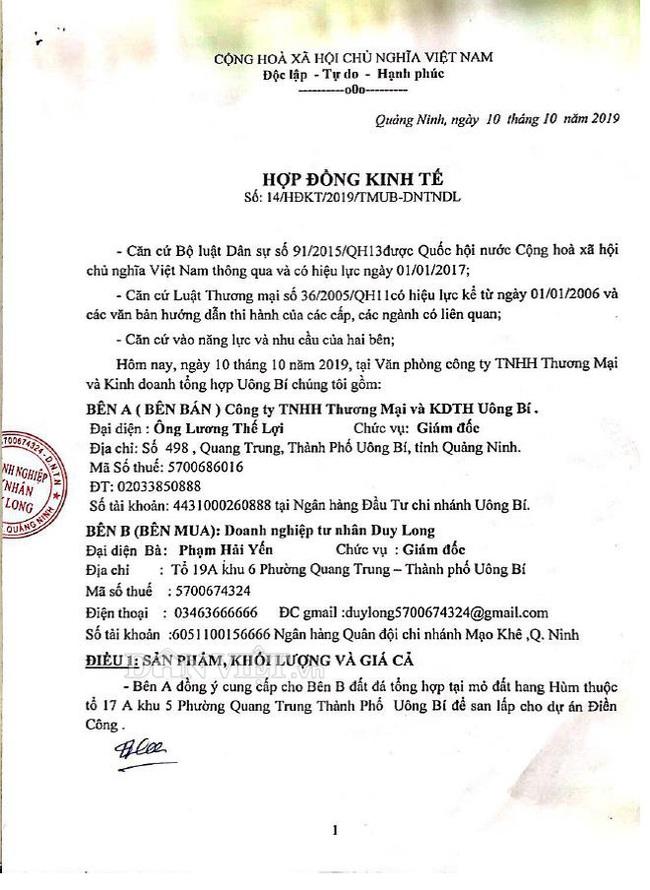 Vụ khai thác đất đá tại núi Hang Hùm: Tranh cãi gay gắt về hợp đồng - Ảnh 1.