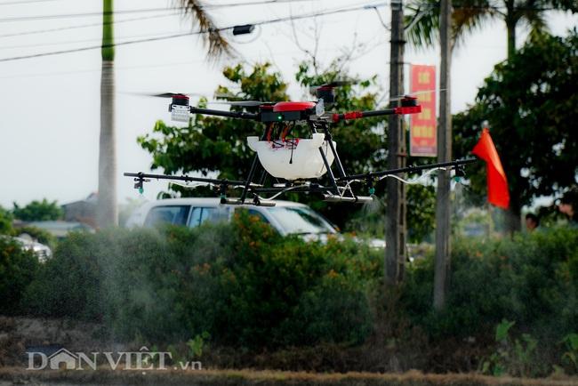 Tận mắt chứng kiến máy bay không người lái phun thuốc trên đồng ruộng - Ảnh 5.
