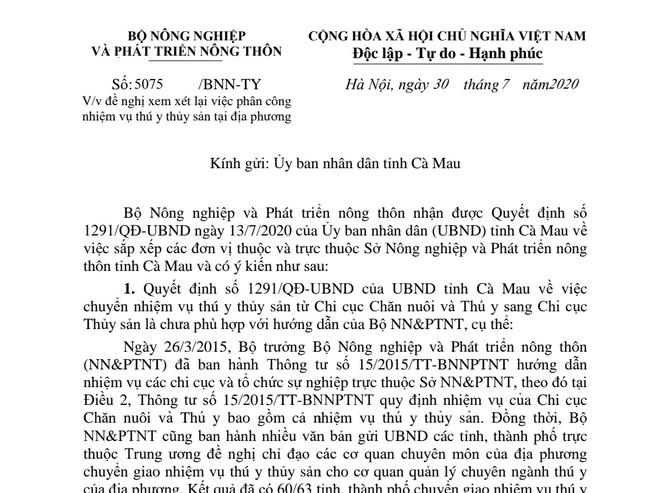 Bộ NNPTNT tiếp tục đề nghị tỉnh Cà Mau xem lại việc sắp xếp đơn vị thuộc Sở NNPTNT - Ảnh 1.