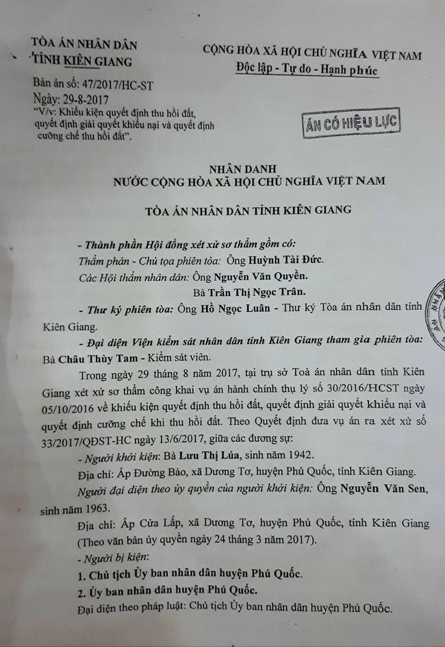 Vì sao UBND huyện Phú Quốc chưa thực hiện bản án? - Ảnh 2.