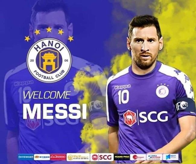 """ẢNH CHẾ: Rời Barcelona, Messi sang Việt Nam """"khuấy đảo"""" V.League - Ảnh 1."""