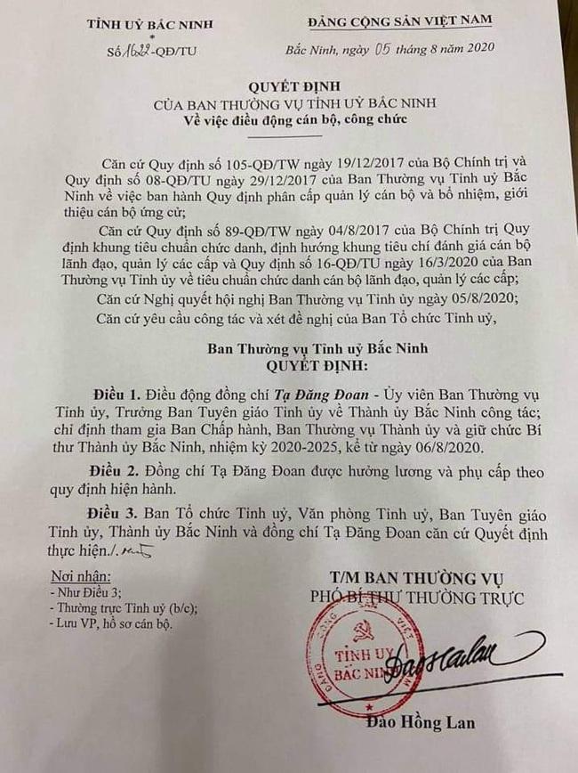 Sau 13 ngày được chỉ định, ông Nguyễn Nhân Chinh thôi giữ chức Bí thư Thành uỷ Bắc Ninh - Ảnh 1.