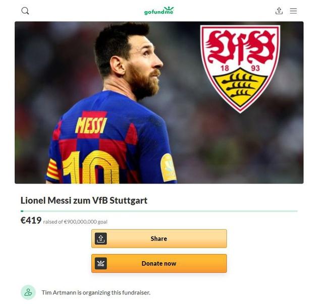 Kêu gọi quyên góp 900 triệu euro mua Messi, fan Stuttgart thu về... 419 euro - Ảnh 1.