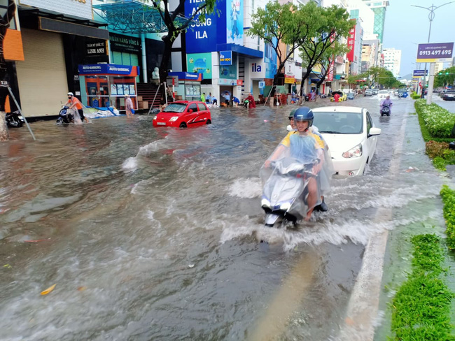 Đà Nẵng: Đường ngập, cây gãy cành đè nhà người dân do ảnh hưởng bão số 5 - Ảnh 1.