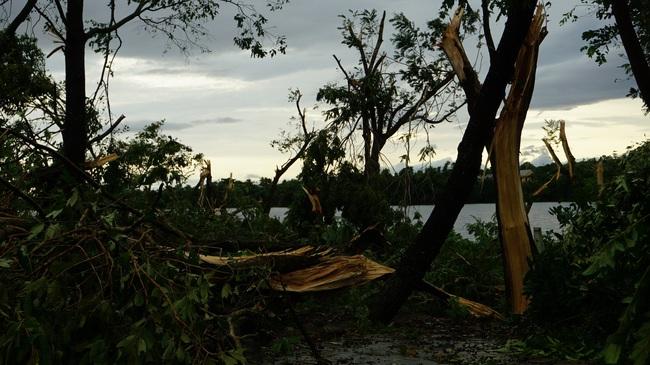 Chùm ảnh: Nhà dân tốc mái và cây xanh, trụ điện gãy đổ hàng loạt ở Huế  - Ảnh 7.