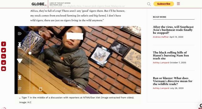 """Loạt bài điều tra """"Xâm nhập đường dây buôn hổ xuyên quốc gia"""" của Dân Việt được dịch đăng báo nước ngoài - Ảnh 2."""