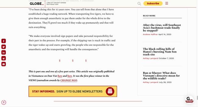 """Loạt bài điều tra """"Xâm nhập đường dây buôn hổ xuyên quốc gia"""" của Dân Việt được dịch đăng báo nước ngoài - Ảnh 3."""
