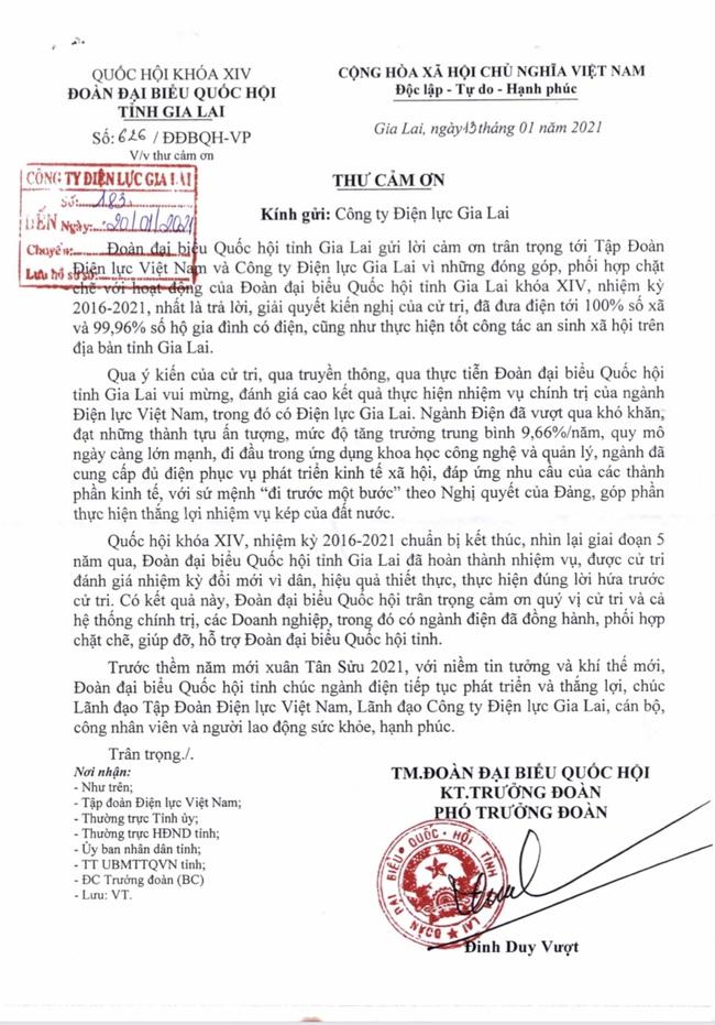 Đoàn đại biểu Quốc hội tỉnh Gia Lai gửi thư cảm ơn Công ty Điện lực Gia Lai  - Ảnh 1.