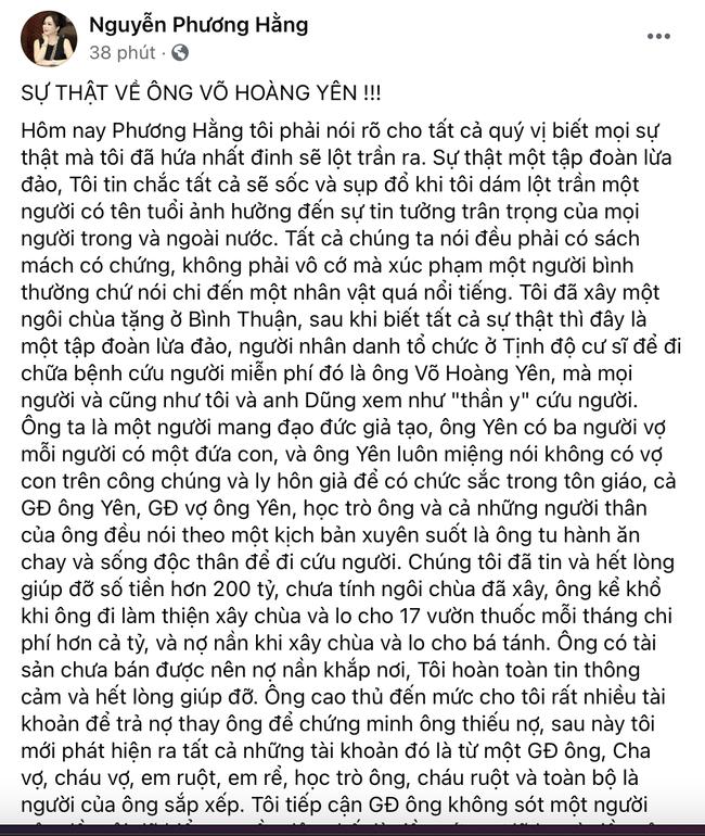 Vợ đại gia Dũng 'lò vôi' tố lương y Võ Hoàng Yên tiền cứu trợ, tiền xây chùa - Ảnh 1.
