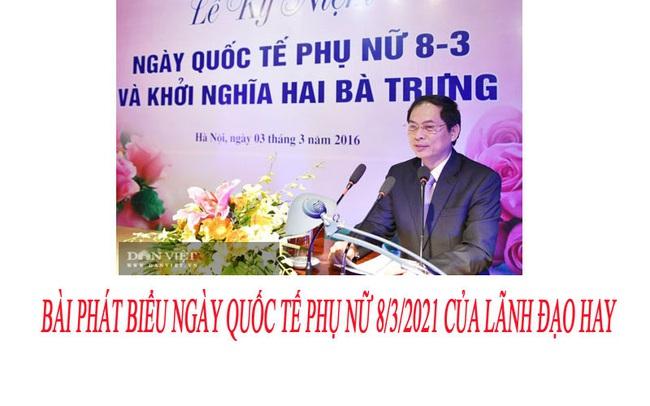Bài phát biểu ngày Quốc tế Phụ nữ 8/3/2021 của lãnh đạo hay, ngắn gọn - Ảnh 1.