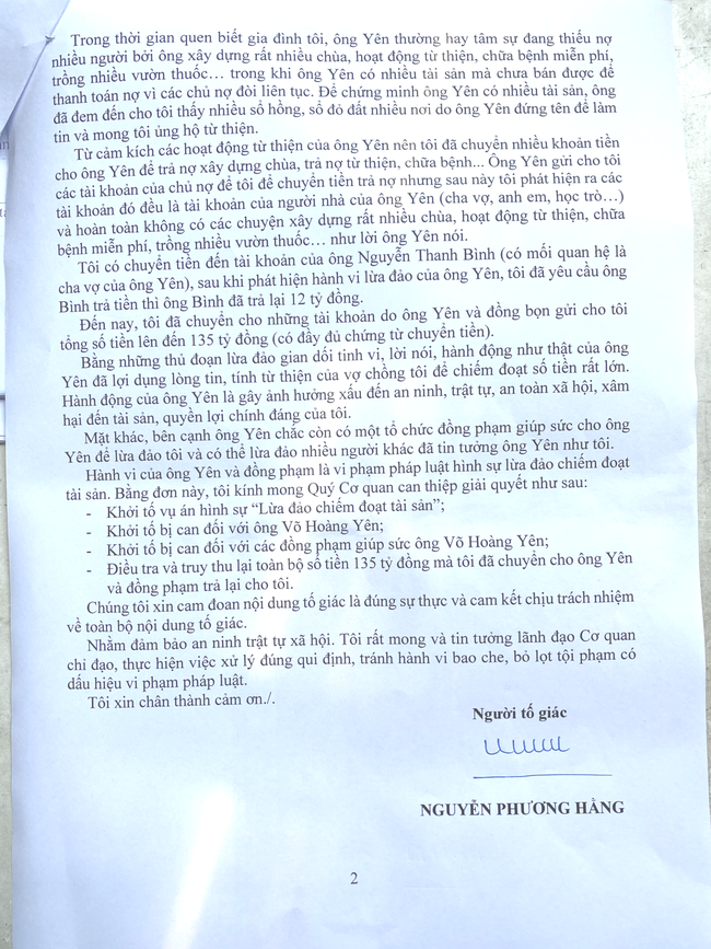 """Vợ ông Dũng """"lò vôi"""" gửi đơn tố cáo lương y Võ Hoàng Yên """"lừa đảo chiếm đoạt tài sản"""" - Ảnh 2."""