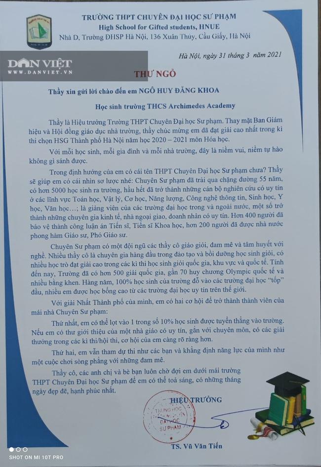 Có gì trong lá thư của hiệu trưởng chuyên Sư phạm gửi cho học sinh khiến phụ huynh phát sốt? - Ảnh 1.